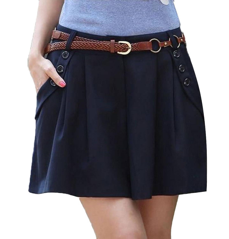 Minetom Damen Maedchen Elegant Hot Kurz Hosenrock Shorts OL Pants Hose Stoffhose Business