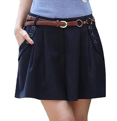 Minetom Damen Maedchen Elegant Hot Kurz Hosenrock Shorts OL Pants Hose  Stoffhose Business Blau EU XXL dfea198fde