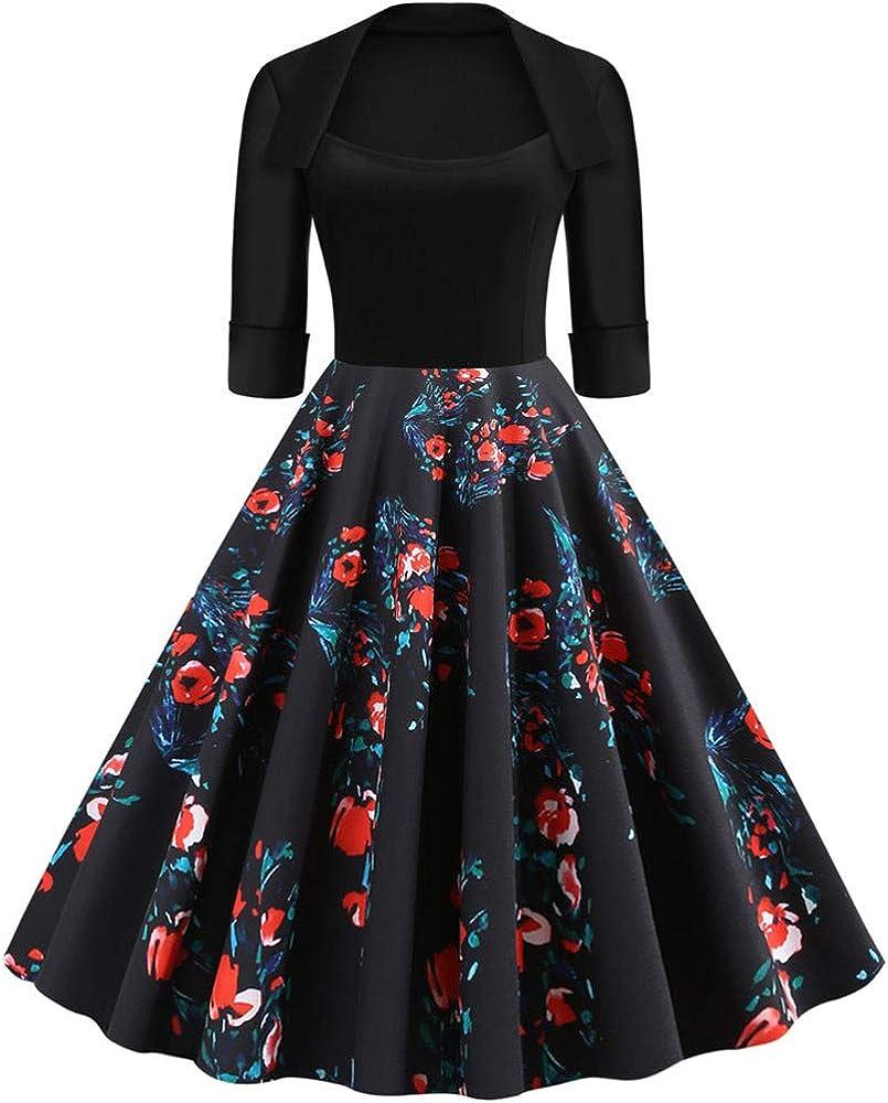 Damen 17er Retro halbes Hülsendrucken Rockabilly Kleid, Petticoat