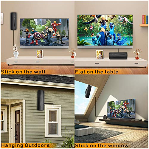2020 Newest Outdoor Indoor TV Antenna 200+ Miles Long Range with Built-in Amplifier,36ft Long Coax Cable Digital HDTV Antenna Support All Television, for Free Local Channels 4K HD 1080P VHF UHF