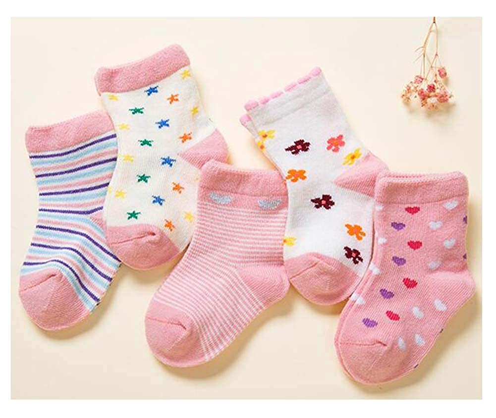 Black Temptation 5 Pairs of Baby Socks Baby Warm Cotton Socks for 1-3 Years Old