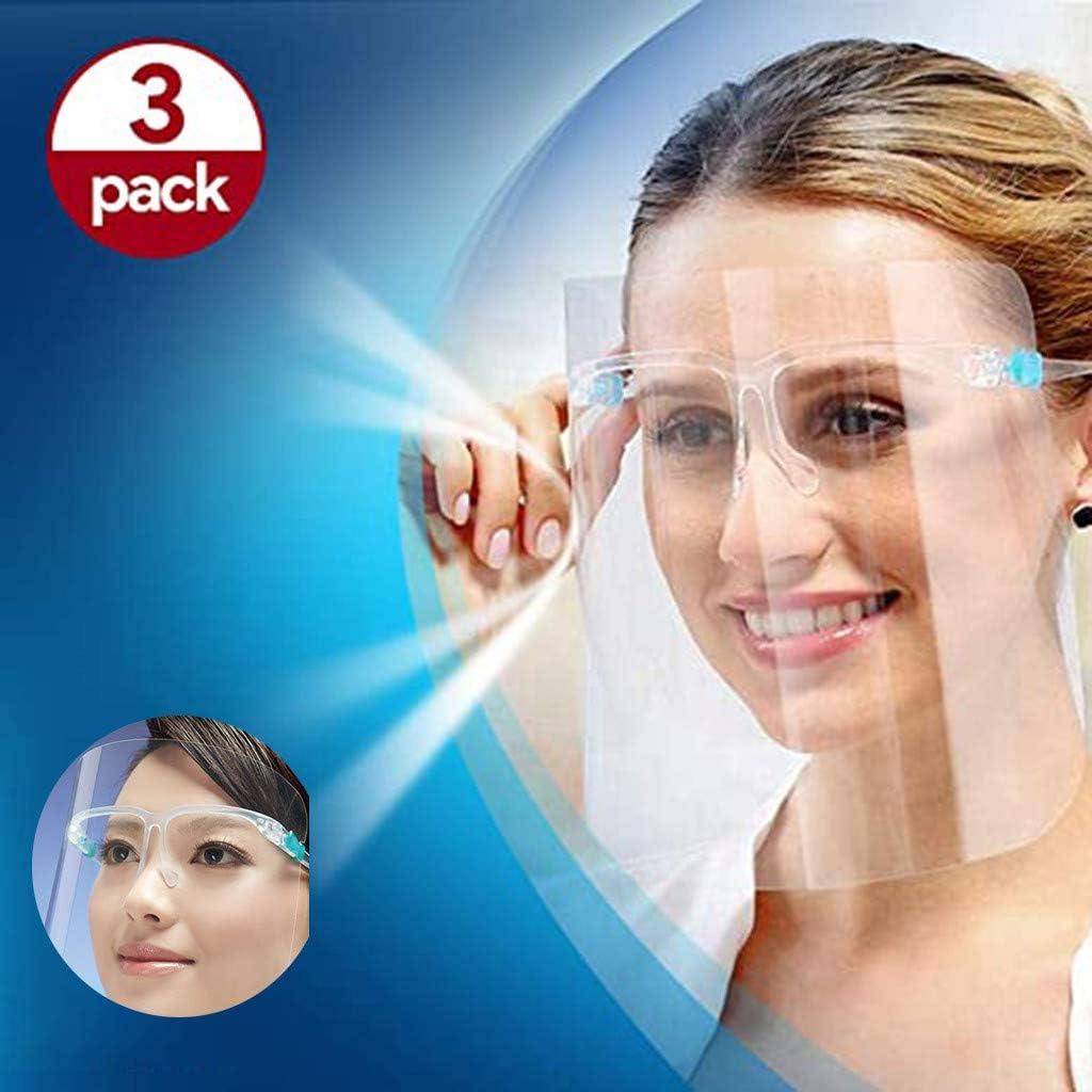 Jaysis 3 x Verstellbar transparent Gesichtsschutz Visier aus Kunststoff transparentes Gesichtsvisier mit Verstellbarem Gummiband f/ür M/änner//Frauen//Kinder