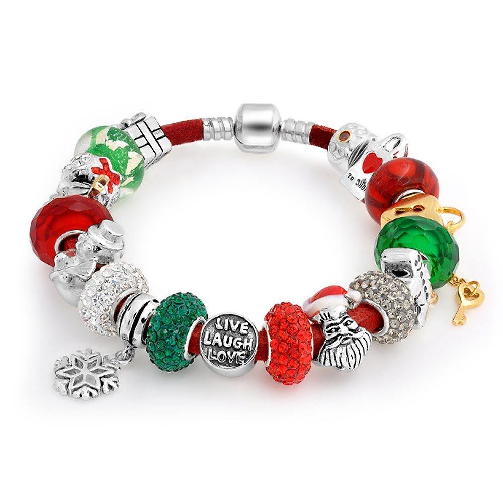 Bling Jewelry 925 Silver Christmas Live Love Laugh Enamel Crystal Glass Bracelet