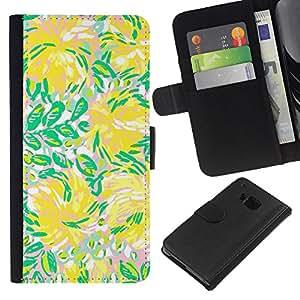 KLONGSHOP // Tirón de la caja Cartera de cuero con ranuras para tarjetas - Verde Flores Flujo de Verano - HTC One M9 //