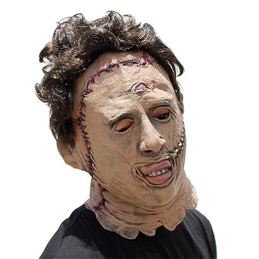 JUKUB Texas Motosierra Asesino Máscara De Halloween Decoración Disfraces Máscara Cosplay Máscara De Cabeza Completa Látex: Amazon.es: Deportes y aire libre