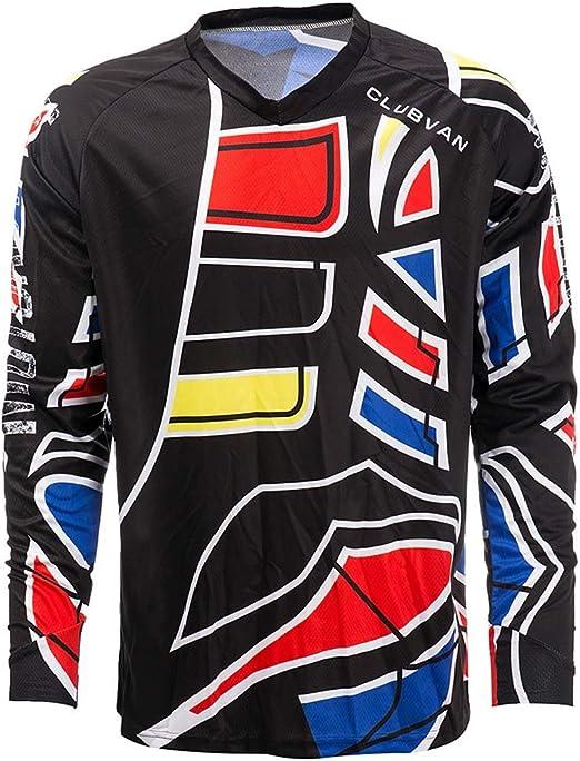 CLUBVAN Jersey de Ciclismo, Camiseta de Manga Larga para Hombre Camiseta de Ciclismo Trek Ajuste Relajado, Secado rápido, Transpirable, para Bicicleta de Carretera Deportes al Aire Libre,S: Amazon.es: Hogar