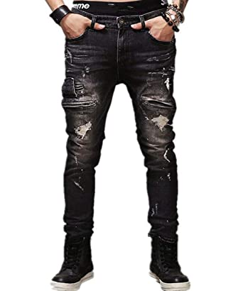 123fa7b30cdb AOWOFS Men s Jeans Distressed Ripped Biker Moto Denim Pants Tapered Leg Slim  fit Zipper Black
