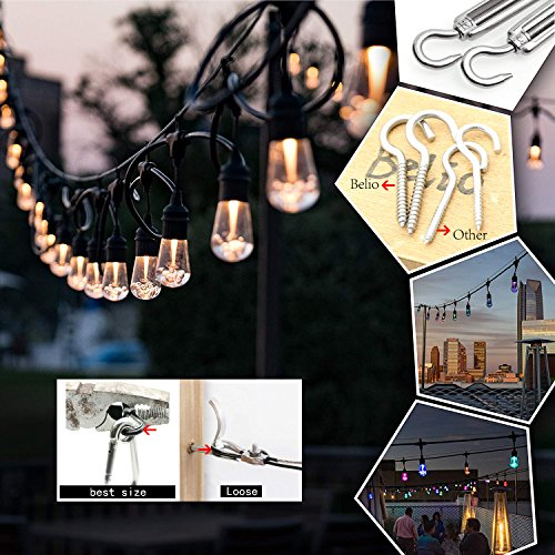 Belio String Light Hanging Kit,Stainless Steel Cable for Outdoor Lights,Globe String Light Suspension Kit Include 164 FT Wire Rope Cable Turnbuckle and Hooks by Belio (Image #5)