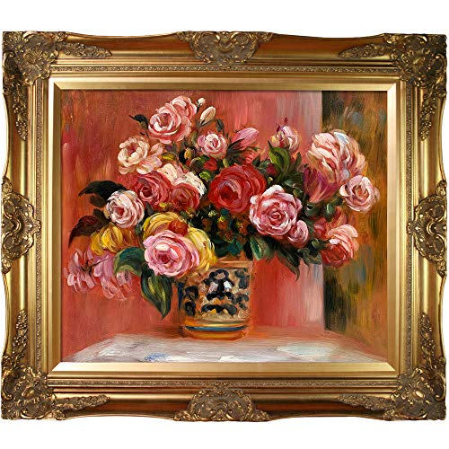 Victorian Rose Frame - overstockArt Roses in a Vase, 1914 by Pierre-Auguste Renoir Hand Painted Oil on Canvas with Victorian Gold Frame, 32