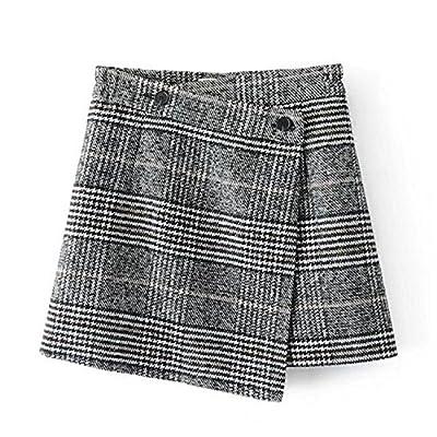 SDHEIJKY plaid skirt women elegant irregular black white plaid mini skirts