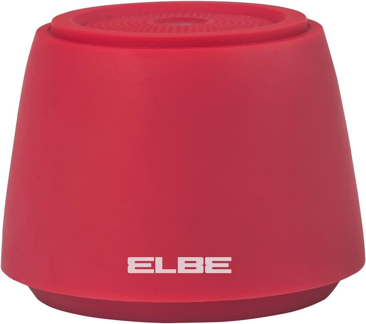 Elbe ALT-002-BT - Mini altavoz portátil Bluetooth V4.1 (2 W, 10 m, 2 horas de reproducción) color rojo