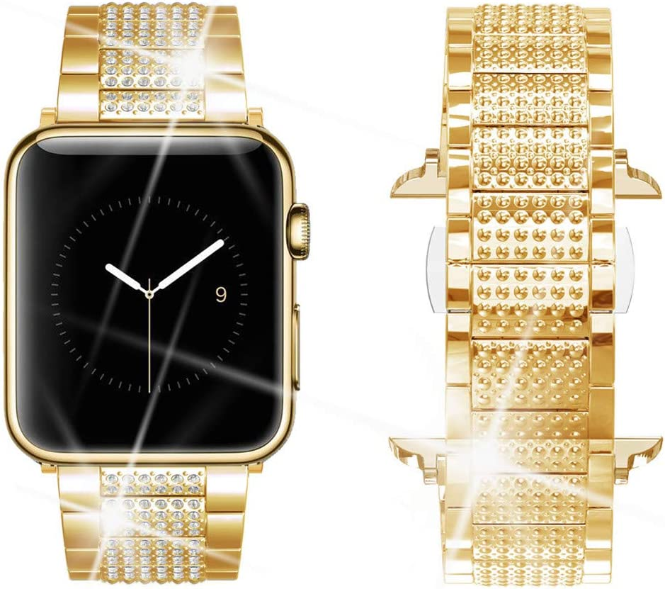 Dassions Band for Apple Watch Diamond Band, Rhinestone Luxury Diamond Stainless Steel Replacement Bands for Apple Watch 42mm 44mm Series 6 5 4 3 2 1 SE Edition (Gold, 42/44mm)