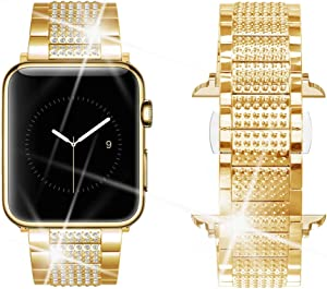 Dassions Band for Apple Watch Diamond Band, Rhinestone Luxury Diamond Stainless Steel Replacement Bands for Apple Watch 38mm 40mm Series 6 5 4 3 2 1 SE Edition (Gold, 38/40mm)