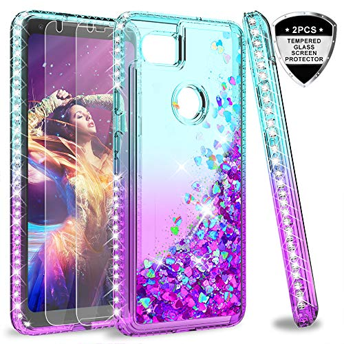 Google Pixel 2 XL Case (Not Fit Pixel 2) with Tempered Glass Screen Protector for Girls Women,LeYi Glitter Bling Sparkle Diamond Liquid Quicksand Flowing Phone Case for Google Pixel 2XL ZX Teal/Purple