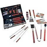 VolksRose Premium 25 Pieces Stainless Steel BBQ Set with Aluminum Storage Case - Heavy Duty Professional Outdoor Barbecue Grill Tool Accessories Kit - Perfect Christmas Gifts Idea