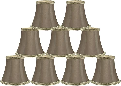 Urbanest Braid Trim Chandelier Mini Lamp Shade, 5-inch, Bell, Clip On, Taupe, Set of 9