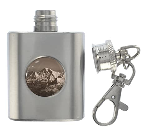 Amazon.com: Monte Everest Metal Miniatura Flask Llavero ...