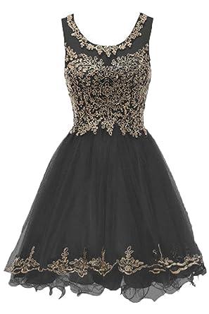 ae6925032468 Huifany Womens Short Beaded Hollow Military Ball Gown Bridesmaid Dress Mini  Black,2