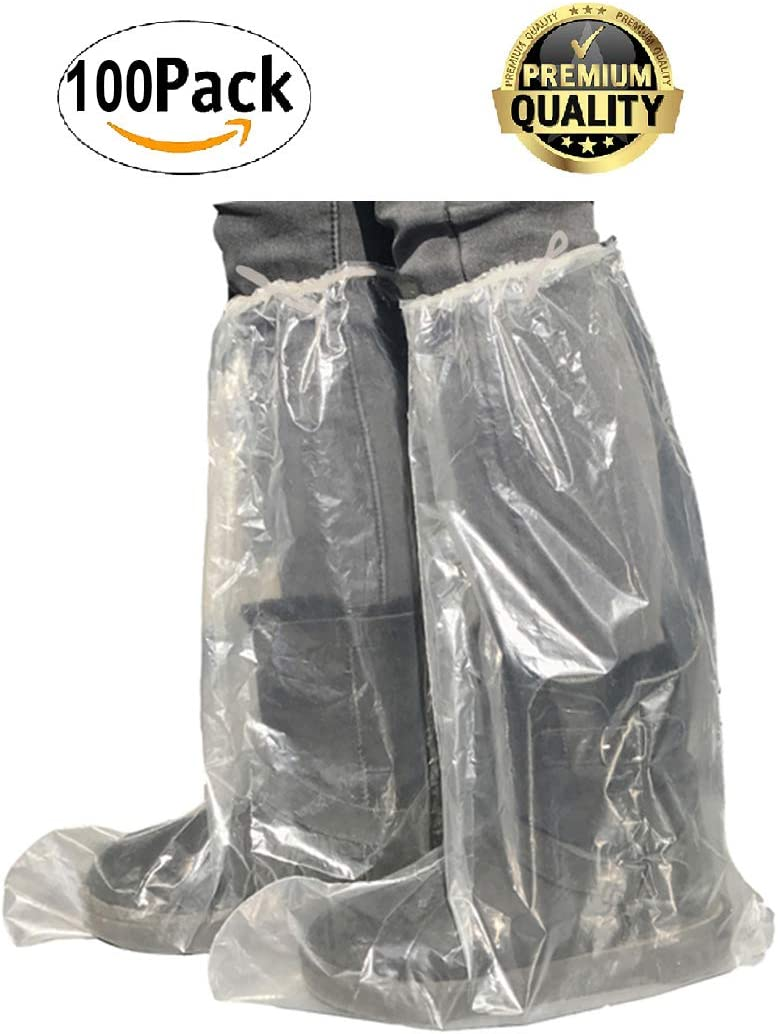 Heavy-Duty Protective shoe covering 100 Pack of Disposable LDPE Boot Covers with Ties XL size Water-resistant Clear shoe protectors protection for shoes. Low Denstity Polyethylene Boot Covers