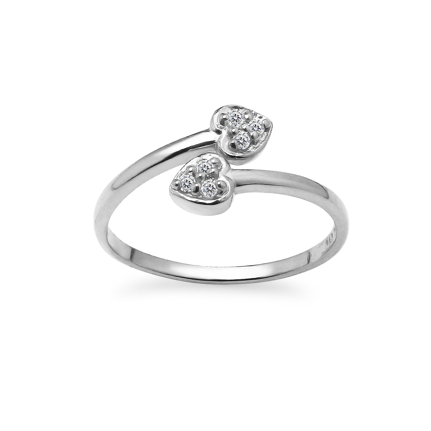 River Island Sterling Silver Cubic Zirconia Bypass Double Heart Adjustable Toe Ring  Available in Silver Rose and Yellow Gold.