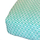 Oliver B Diamond Fitted Crib Sheet, Turquoise/White