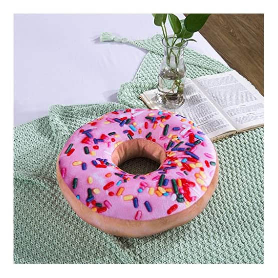Pink Donut Throw Pillow Plush 4