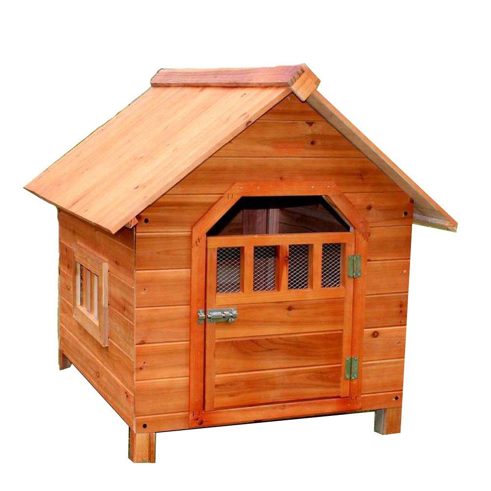 LDFN Caseta De Perro De Interior Y Exterior De Madera Maciza Perrera De Lluvia Perrera Ambiental Gatos Del Abeto Anidan Casa De Mascotas ,Brown-56*45*48cm: ...