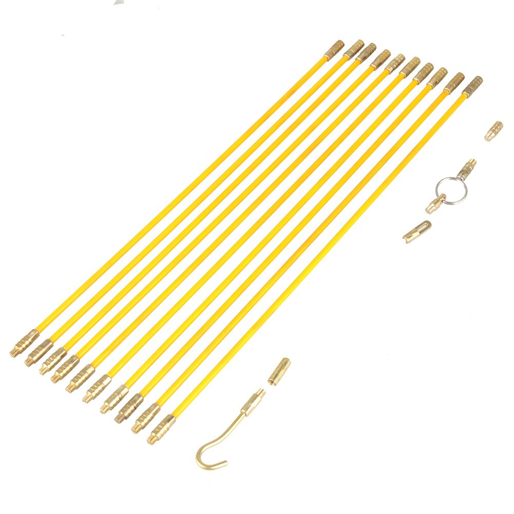 Fiberglass Cable Puller Running Wire Cable Set Electrical Pull Push Rods Fish Tape Kit
