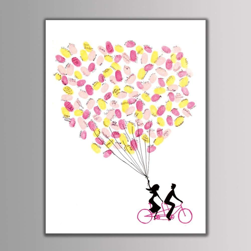 HK001 4 tipos Huella digital Huella digital Personal Firma Libro de visitas de boda para bodas y fiestas 6 colores