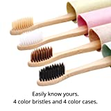 4 pack - Bamboo toothbrush soft bristle with