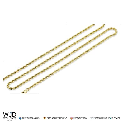 43d432cca9e 10K Yellow Gold 2mm Rope Hollow Link Lobster Clasp Chain Necklace 16 quot  ...