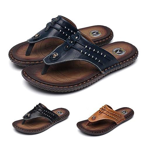 Gracosy Zapatillas De Playa para Hombre Zapatillas Deporte De Cuero De Verano Chanclas Cómodas Chanclas Sandalias