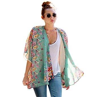 DEELIN La Rebeca De La Gasa del Kimono del Estampado Floral Bohemio De Las Mujeres del Verano Cubre La Blusa: Amazon.es: Ropa y accesorios