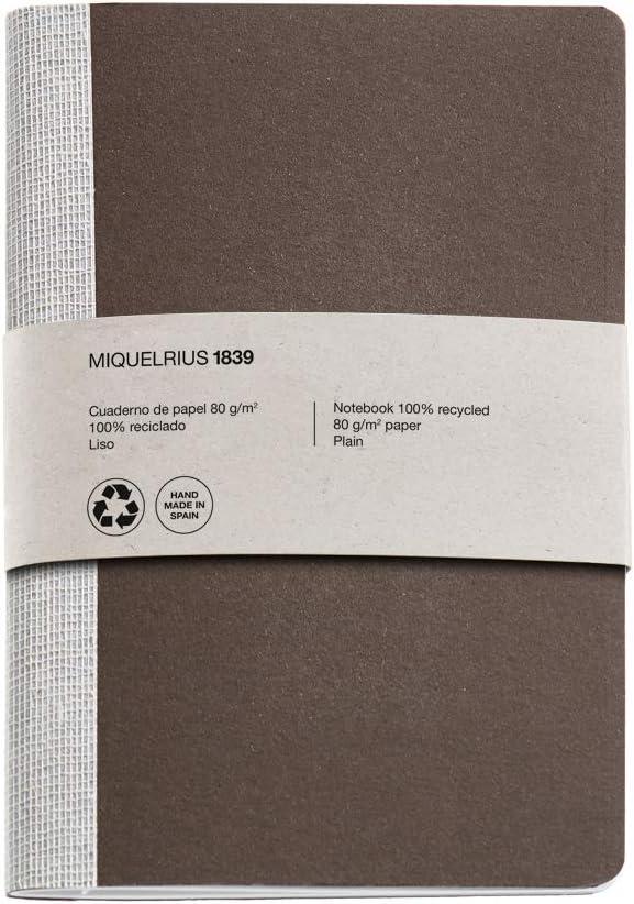 Miquelrius 56 pagine lisce da 80 g//m2 formato mm Taccuino con copertina riciclata e dorso in tessuto motivo: 104 x 150 mm Foglia
