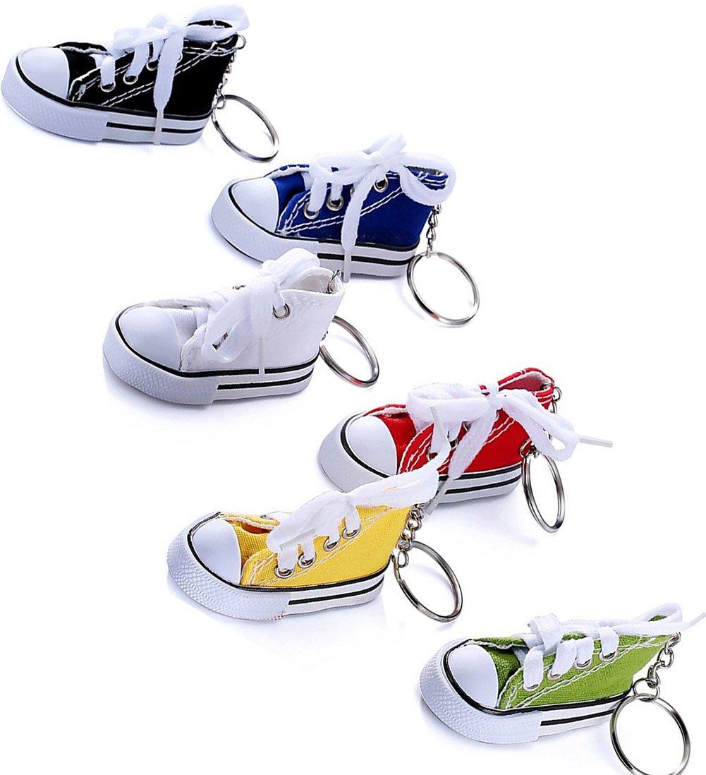 26ec2ddb7ff2d 6 Pieces Canvas Tennis Shoe Key Chain Shoes Shape Key Rings Sport Style  Split Keychain Set, 6 Colors