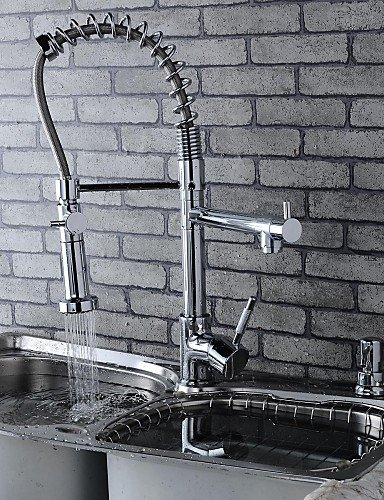 Stylish Chromed Brass Spring Kitchen Faucet with Two Spouts- Silver