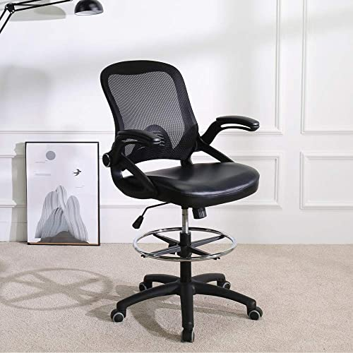 Mid Back Mesh Office Chair with Adjustable Armrest Footrest Studio Chair Announcer Chair Drafting Chair Guitar Show Chair Broadcaster Black H