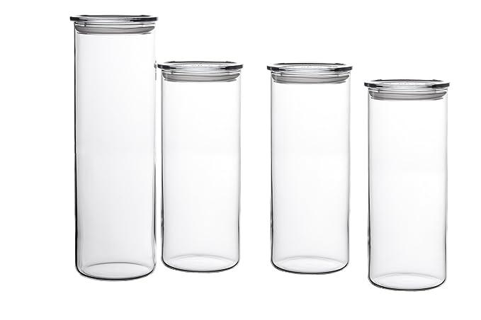 Bohemia Cristal 093 006 041 SIMAX Vorratsgläser aus hitzebeständigem Borosilikatglas, 4er Set (1 Stück : 1,8 L / 3 Stück : 1,