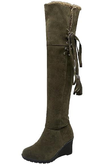 BIGTREE Damen Knie Hohe Stiefel Herbst Winter Casual Schnüren Keilabsatz Bequem Warme Lange Stiefel Von Beige 41 EU omxhXS