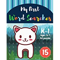 My First Word Searches: 50 Large Print Word Search Puzzles : Wordsearch kids activity workbooks | K-1 | Ages 5-7 cat design (Vol.15) (Kids word search books)
