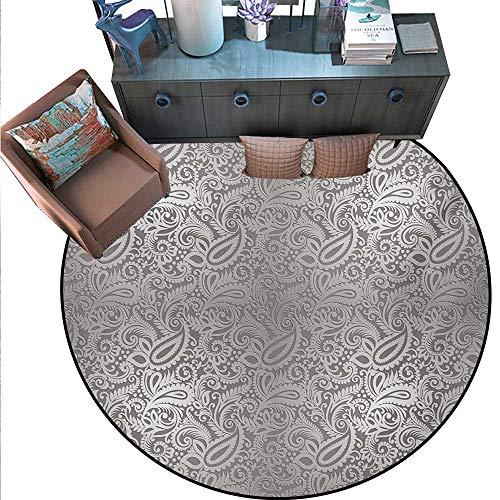 (Damask Round Area Rug Carpet Traditional Paisley Pattern Old Fashioned Royal Floral Ornamental Tile Design Anti-Skid Area Rug (75