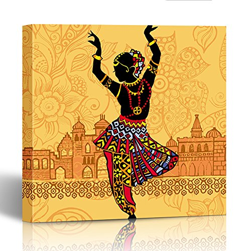 (Emvency Painting Canvas Print Square 20x20 Inches Black Dance Indian Woman on the of Architecture India Colorful South Culture Wall Art Decoration Wrapped Wooden)