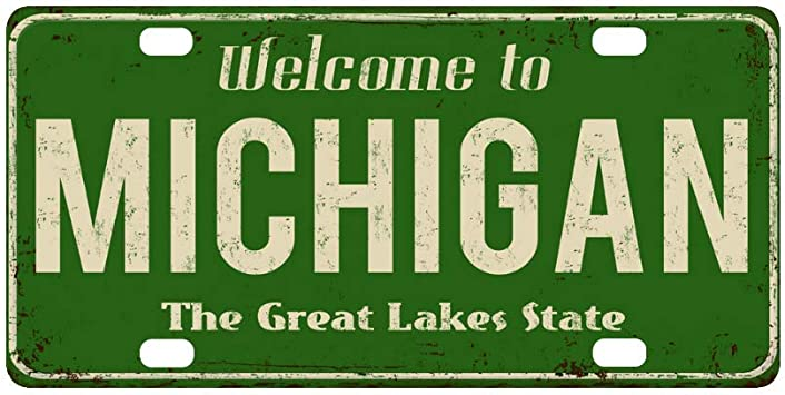Amazon Com Interestprint Welcome To Michigan The Great Lake State Vintage Metal Sign Metal License Plates Car Tag Decoration For Woman Man 12 X 6 Inch Automotive