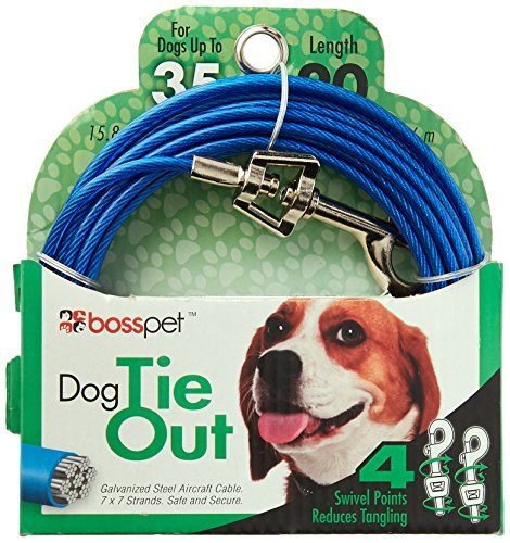 (Warren Pet Products 20ft Tie-Out Cable for Medium to Large Dogs)