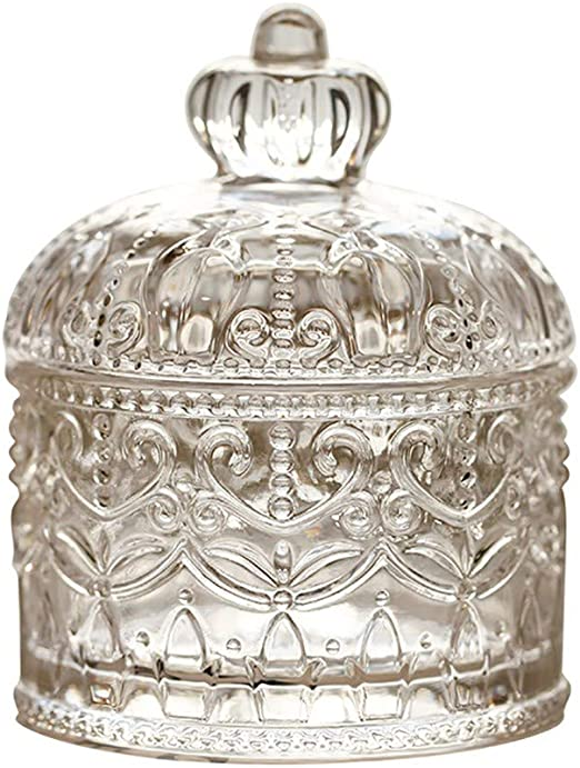 Glass Candy Dish with Lid Decorative Candy Bowl Crystal Covered Storage Jar