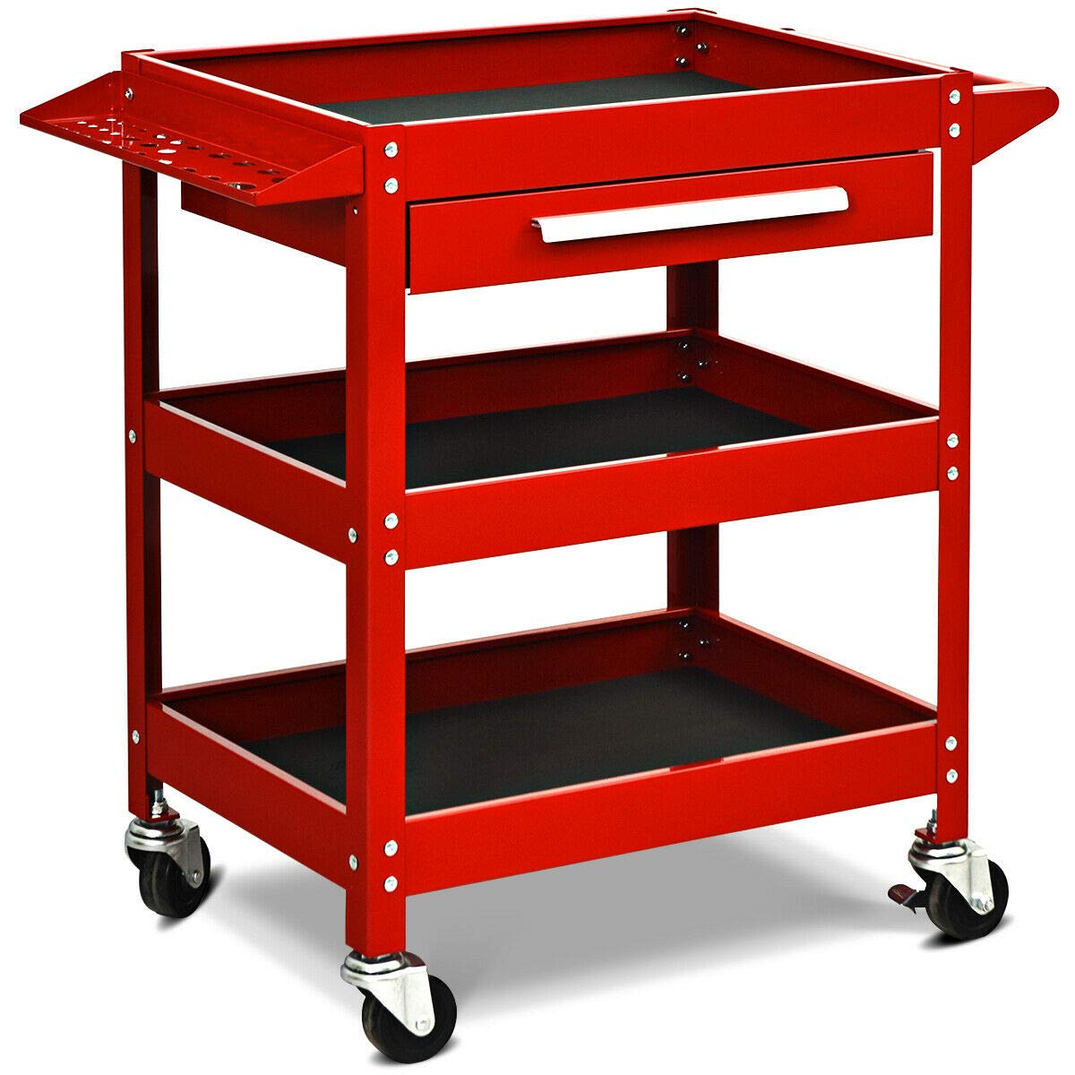 Goplus Service Tool Cart Tool Organizers, 330 LBS Capacity 3-Tray Rolling Utility Cart Trolley with Drawer, Industrial Commercial Service Cart, Mobile Storage Cabinet Organizer Dollies by Goplus