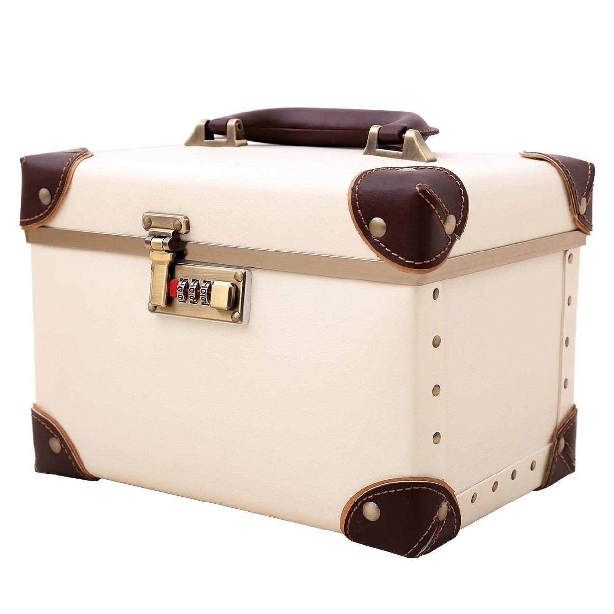 Portable Makeup Train Case Double Layer Cosmetic Bags Leather Toiletry Case for Women Ivory White 15''