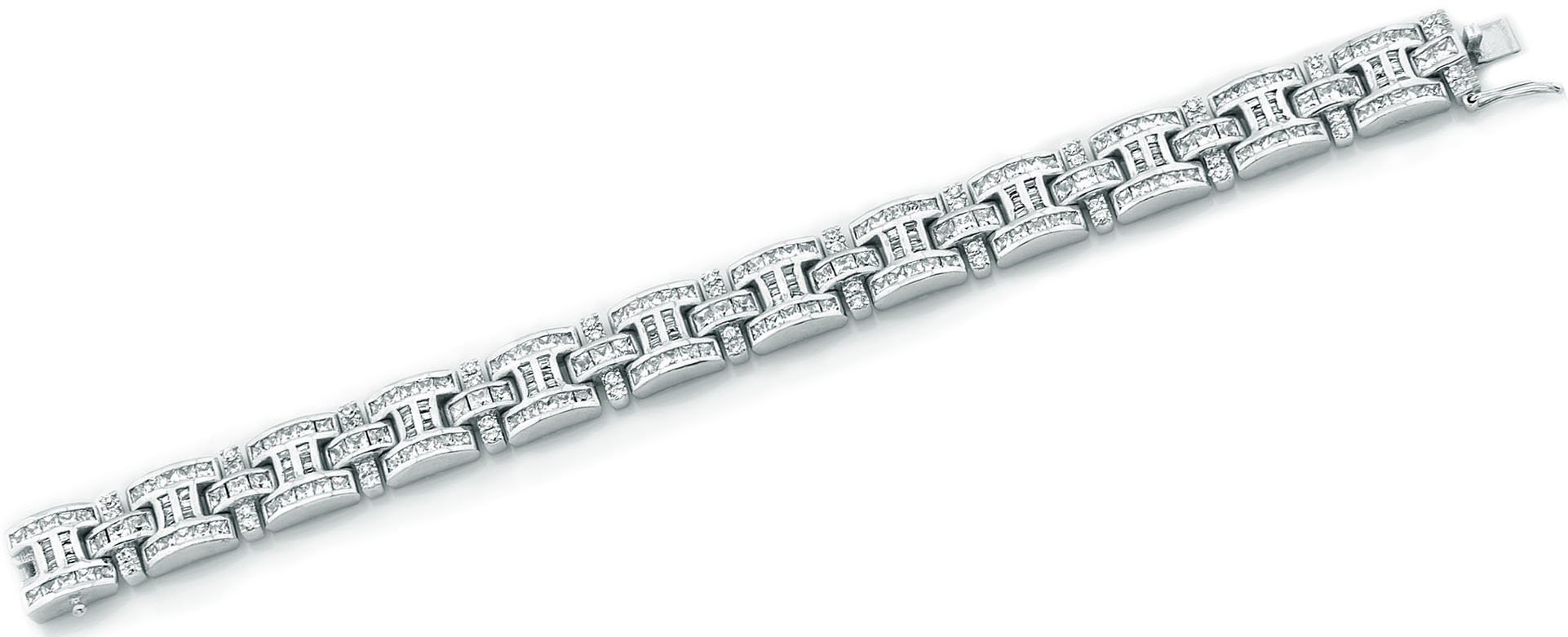Men's Sterling Silver .925 Bracelet with 276 Channel set Fancy Princess Cubic Zirconia (CZ) Stones, Box Lock, Platinum Plated. Sizes available 8''9'' by Sterling Manufacturers (Image #4)