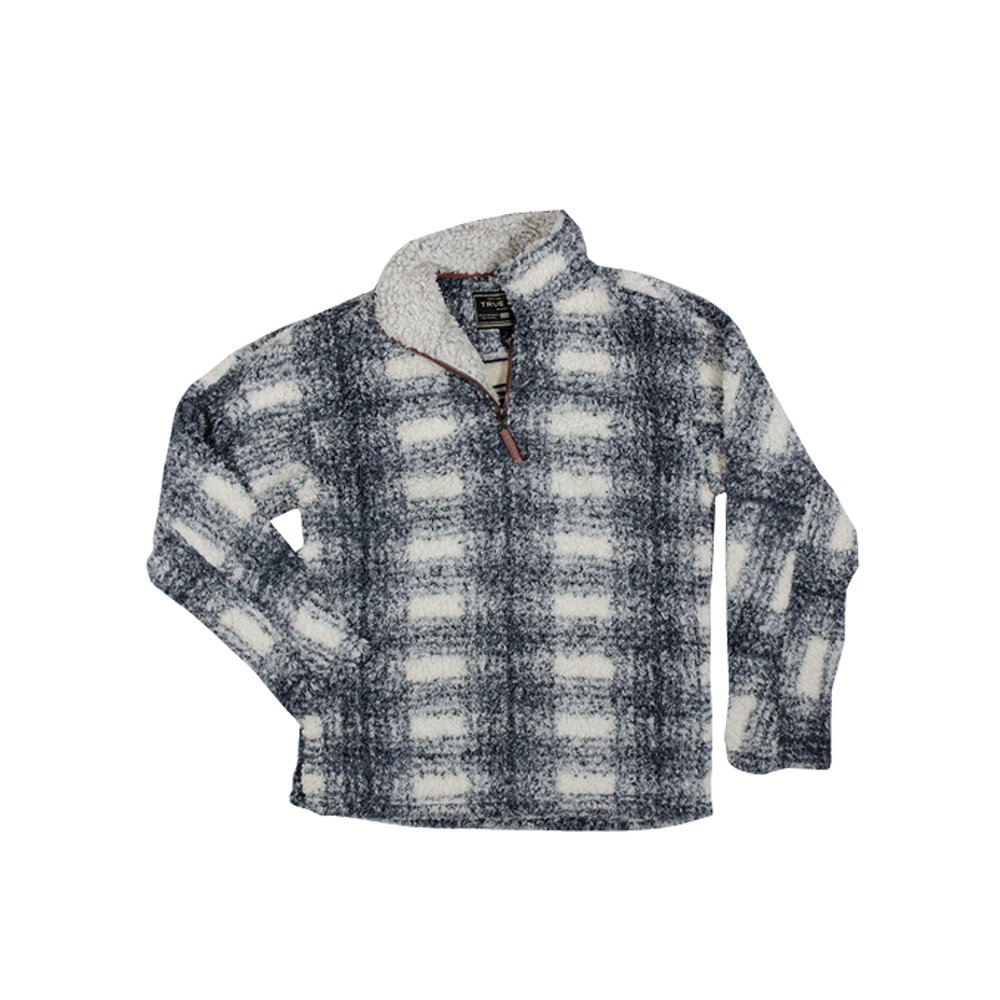 True Grit Men's 1/4 Zip Frosty Tipped Pile Big Plaid Pullover (Charcoal,XL)