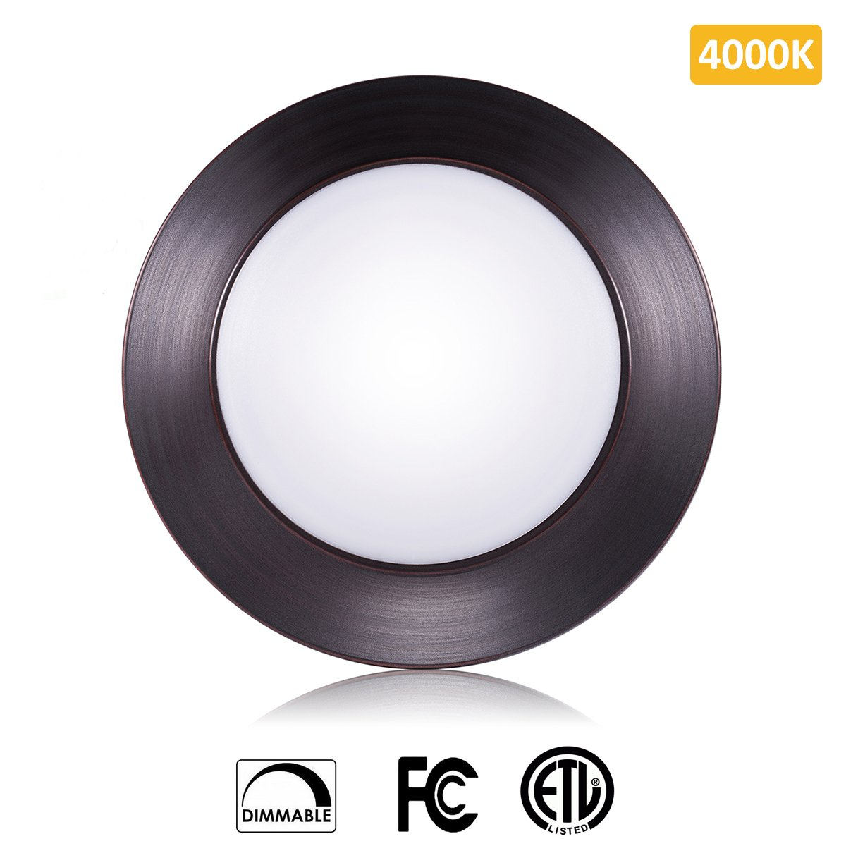 SOLLA 6 inch Dimmable LED Disk Light Flush Mount Ceiling Fixture with ETL FCC Listed, 750LM, 12W (70W Equiv.), Natural White, 4000K, Bronze Finish, Ultra-Thin, Round LED Light for Home, Hotel, Office by SOLLA
